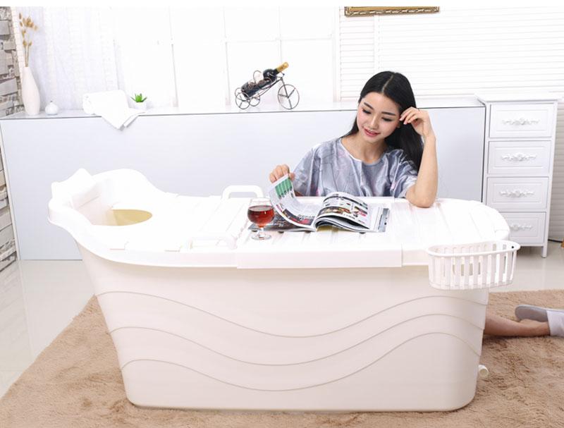 润沐加大号洗澡桶塑料成人浴桶沐浴盆泡澡桶可双人加长超大号加厚