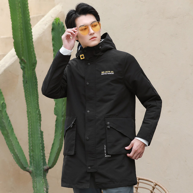 JeansWest men's wear spring and autumn new fashion casual windbreaker chemical fiber hooded lettering men's casual coat