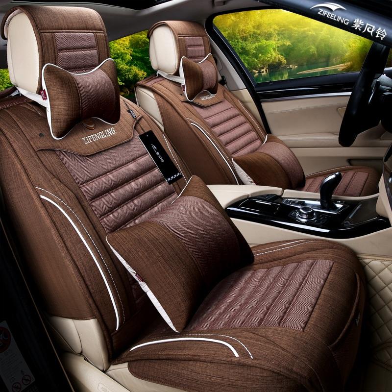 紫风铃夏季专用汽车座套索纳塔朗逸凯美瑞四季通用亚麻全包坐椅套