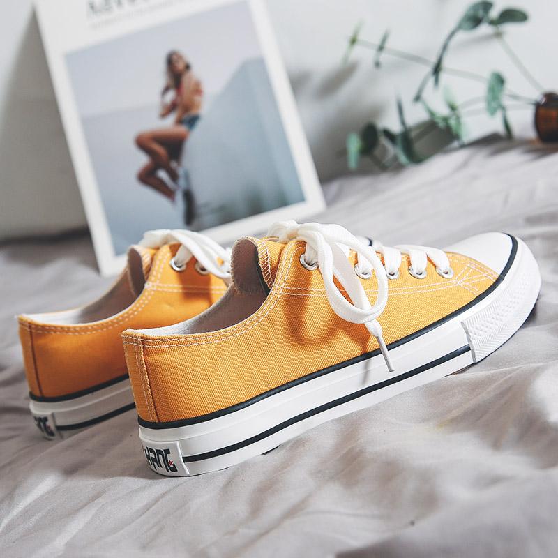 秋季球鞋新款小白帆布女鞋2019黑色板鞋韩版秋鞋百搭潮鞋学生布鞋