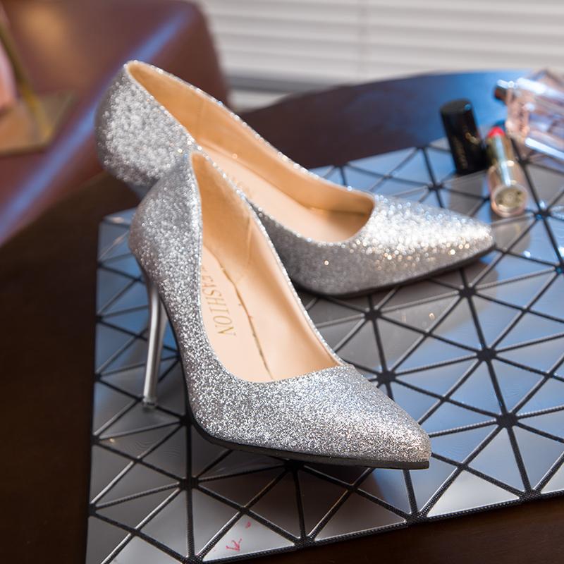 新款百搭细跟春季渐变色宴会婚礼新娘鞋婚鞋 2018 银色亮片高跟鞋女