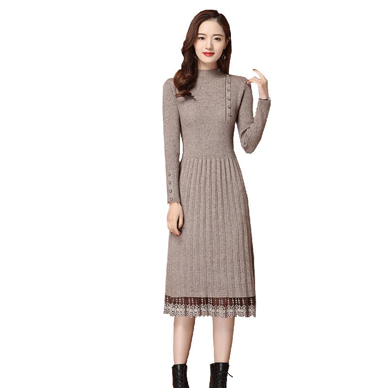 加厚内搭蕾丝针织过膝毛衣裙 秋冬季长款配大衣 2020 早秋连衣裙女