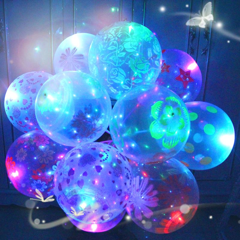 发光气球带灯闪光夜光灯微商扫码地推儿童卡通透明多款小礼品免邮