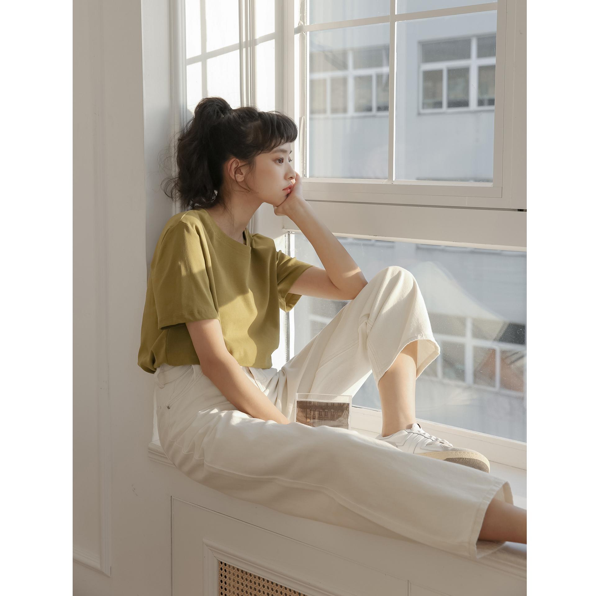 【多件多减】彩虹冰块/红色t恤女夏季白色纯棉短袖打底上衣2021新 No.3