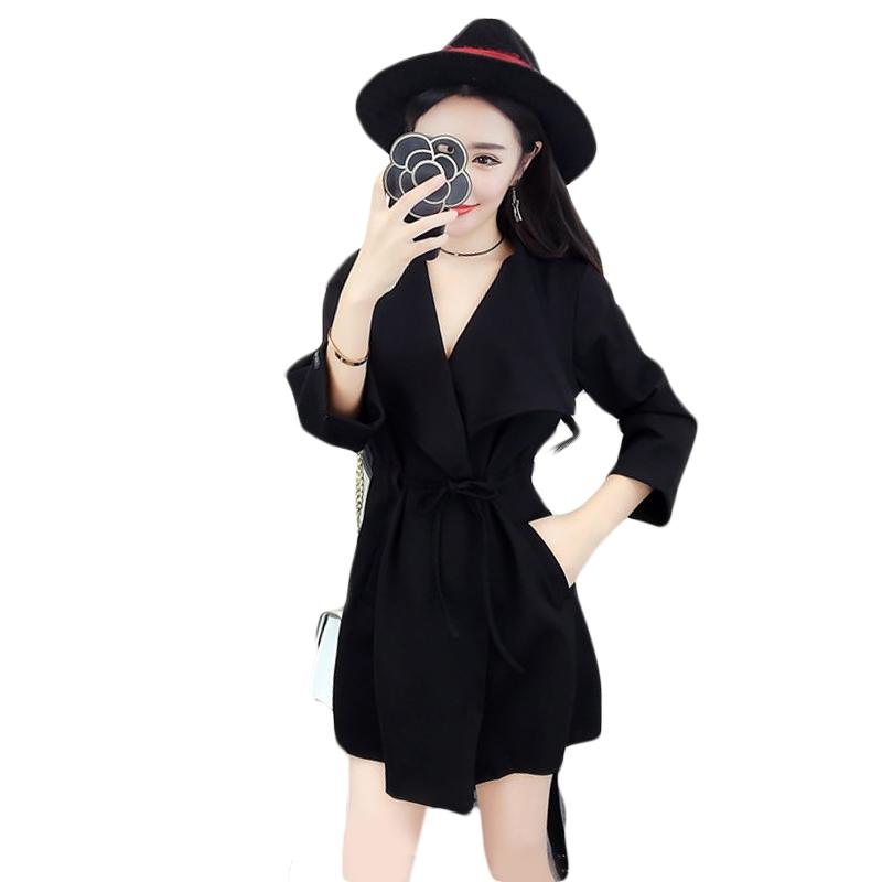 秋装韩版时尚百搭纯色翻领九分袖系带收腰显瘦中长款风衣女装外套