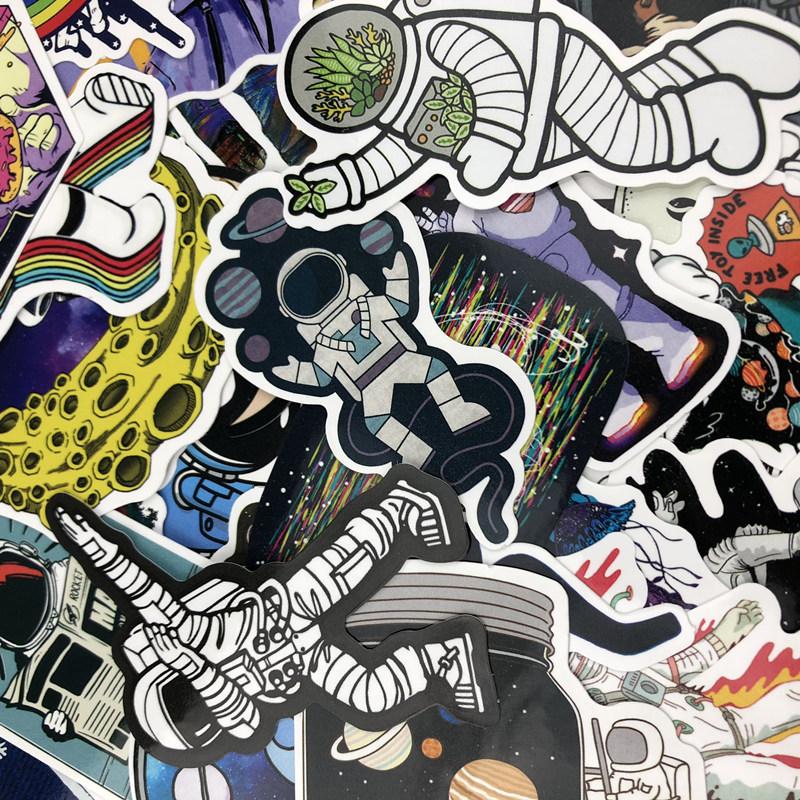 50张创意NASA太空人宇航员行李箱贴纸电冰箱吉他滑板吉他装饰贴纸