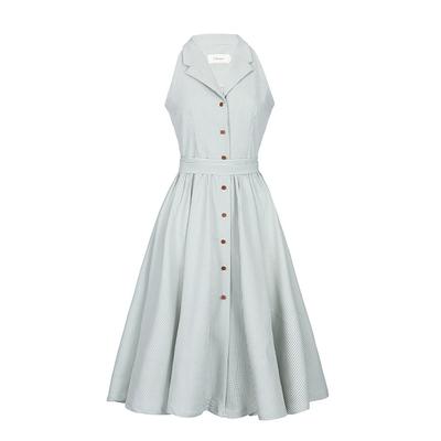 Ching's 原创自制 复古格子V领衬衫连衣裙高腰显瘦单排扣大摆伞裙