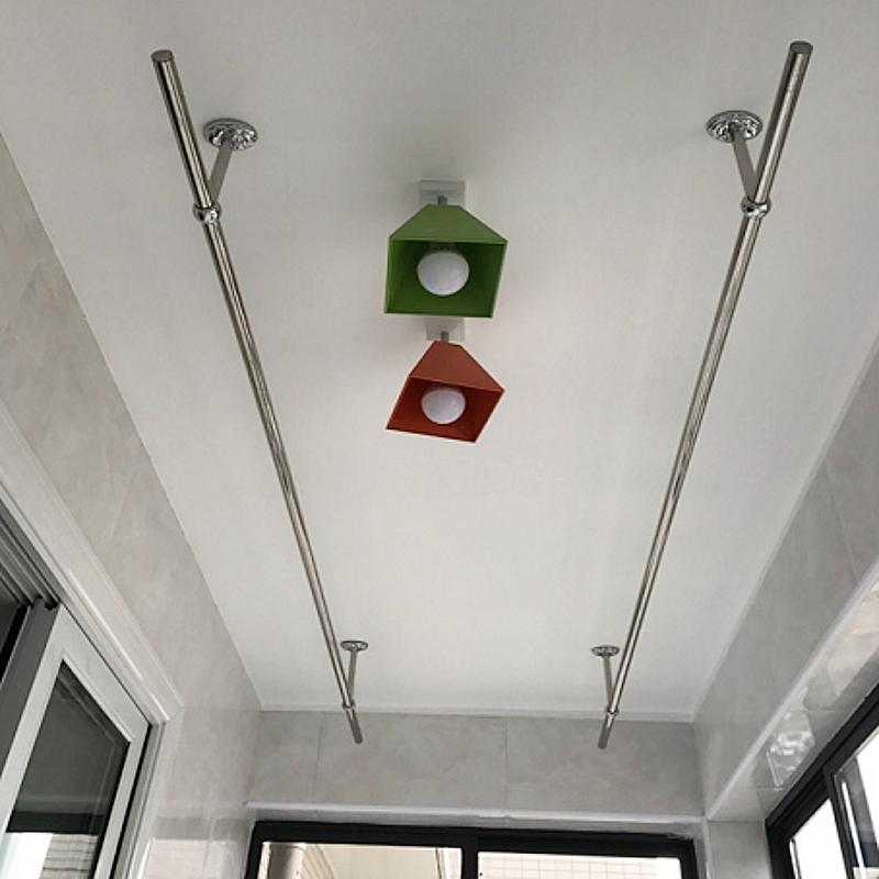 沛晴阳台固定式晾衣杆25加厚不锈钢挂衣杆晒衣架单杆墙吊顶装定做