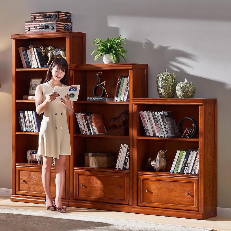 美式实木书柜置物架带门玻璃门落地书架组合儿童书橱防尘收纳柜墙