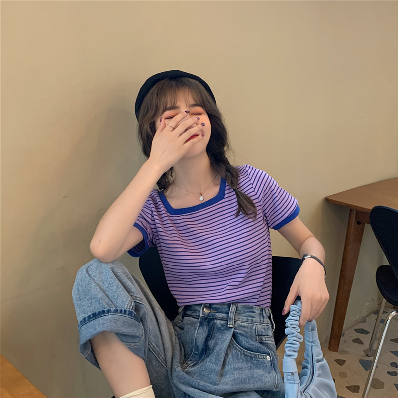 新款条纹短袖t恤女夏季2021新款韩版辣妹短款方领显瘦露锁骨上衣