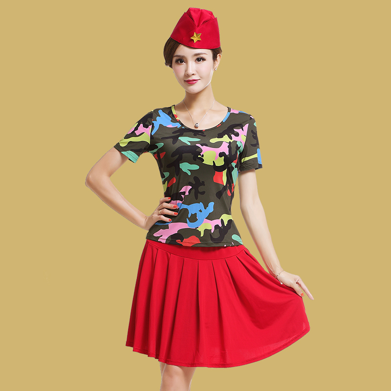 艳王2019广场舞服装新款套装短袖水兵舞服装全新迷彩跳舞服装女夏