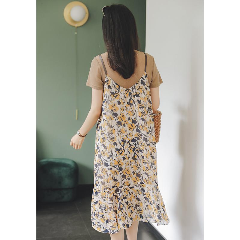 孕妇装套装时尚款洋气夏装孕妇连衣裙夏天潮妈裙子夏季雪纺背带裙