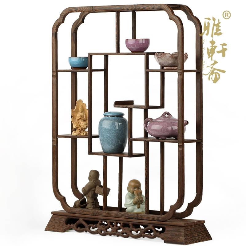 红木多宝阁工艺品摆件 鸡翅木质家居展示架 60cm长方形博古架