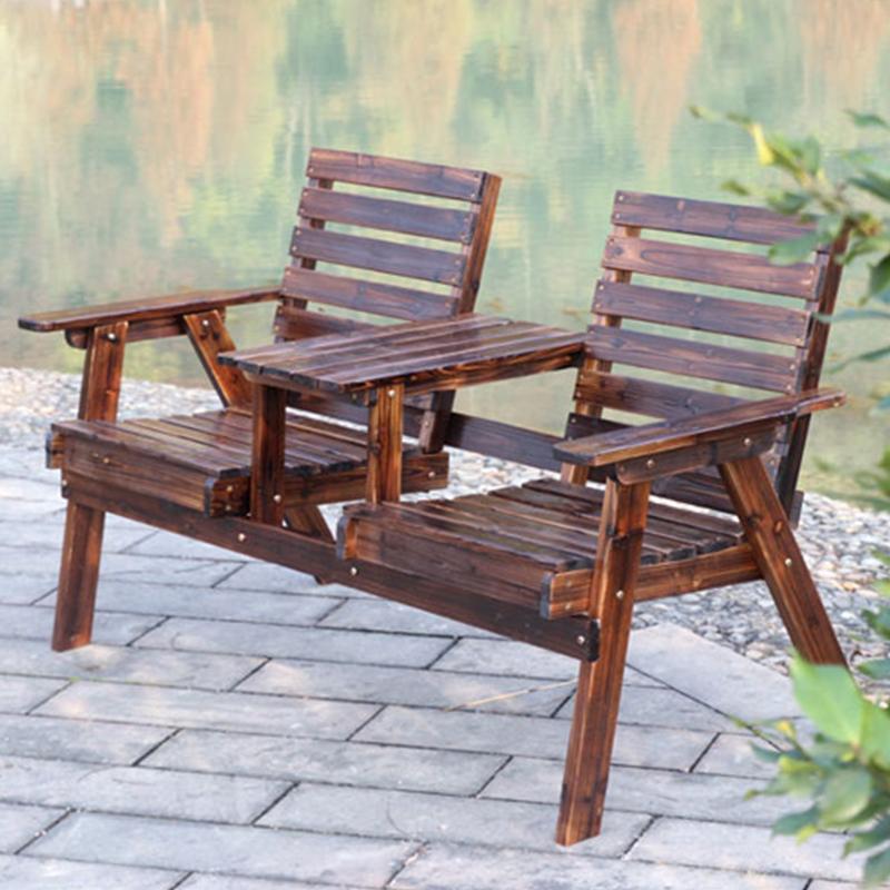 户外桌椅实木 庭院阳台休闲双人带茶几桌椅组合公园防腐木椅子高清大图