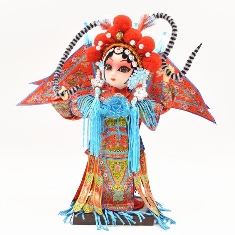 绢人北京特色礼物娟人摆件京剧脸谱戏曲人物 京剧娃娃出国礼品