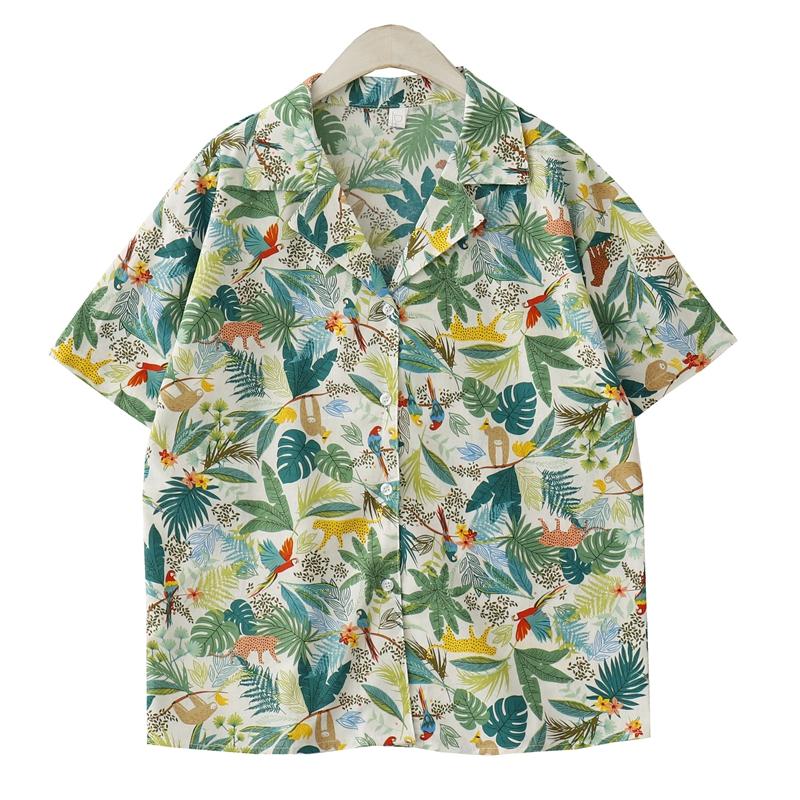 夏季新款韩国复古学院风宽松短袖印花衬衫休闲百搭西装领衬衣上衣