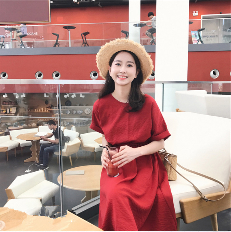 云奈2019沙滩裙女三亚旅游马尔代夫海边度假长裙泰国红色连衣裙