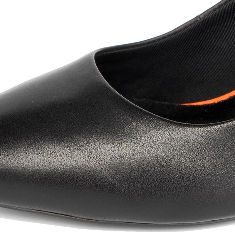 软皮舒适职业工作鞋女黑色皮鞋细跟高跟鞋真皮工装空姐上班单鞋秋