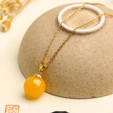 Natural Beeswax Ball Clavicle Chain Pendant Chicken Butter Yellow Amber 18K Gold Sweater Chain Red Blood Amber Black Leather Rope Necklace