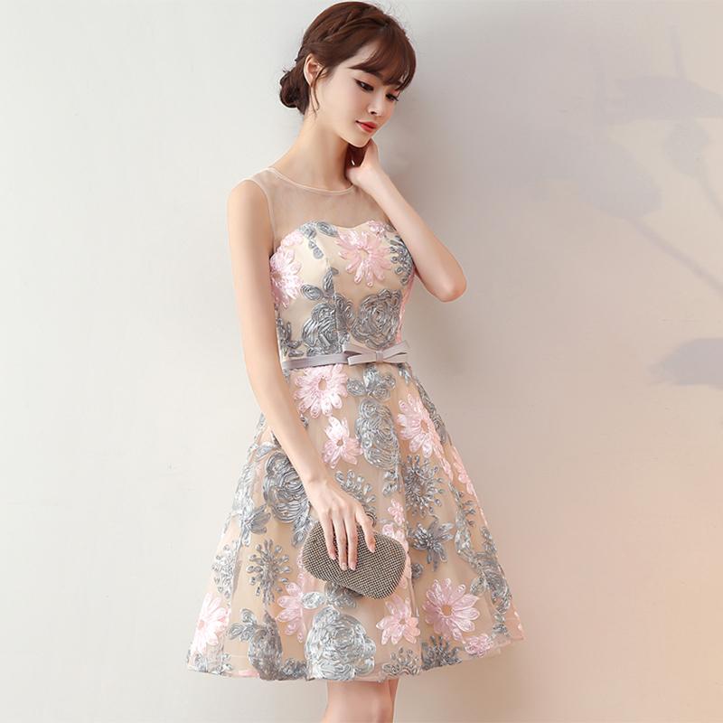 伴娘服2019新款春短款连衣裙宴会洋装生日派对小礼服蓬蓬裙晚礼服