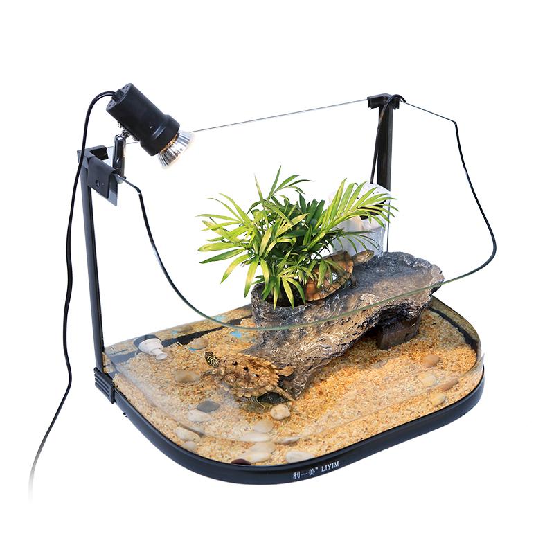 玻璃乌龟缸带晒台小型鱼缸生态水陆缸养乌龟的缸巴西龟缸别墅鱼缸