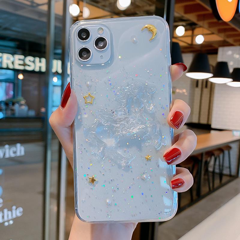 立体白龙马iphone11苹果X手机壳11Pro适用XS/XR闪粉独角兽7p金箔月亮8plus星星11promax滴胶xsmax全包6/6p女