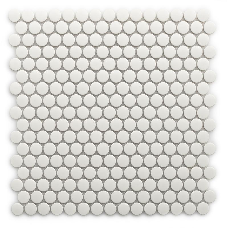 现代简约浴室纯白色陶瓷纽扣地砖马赛克防滑小圆形洗手间装饰瓷砖