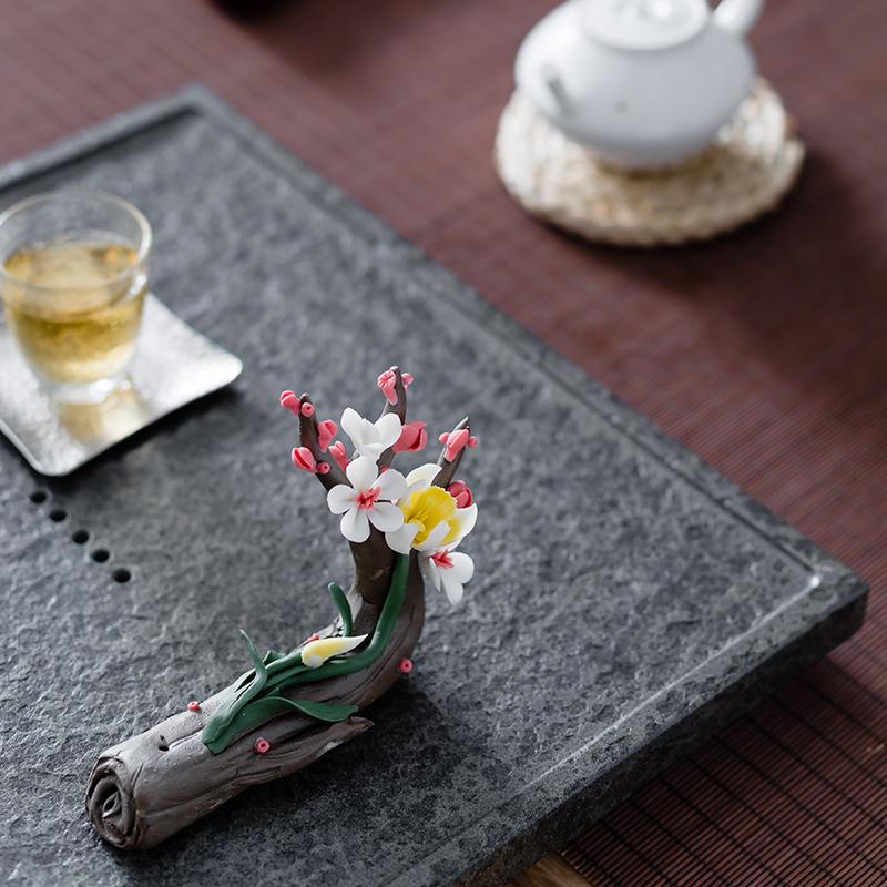 陶瓷茶宠梅花摆件手工树桩精品茶艺线香插笔架茶席饰品玉兰花包邮