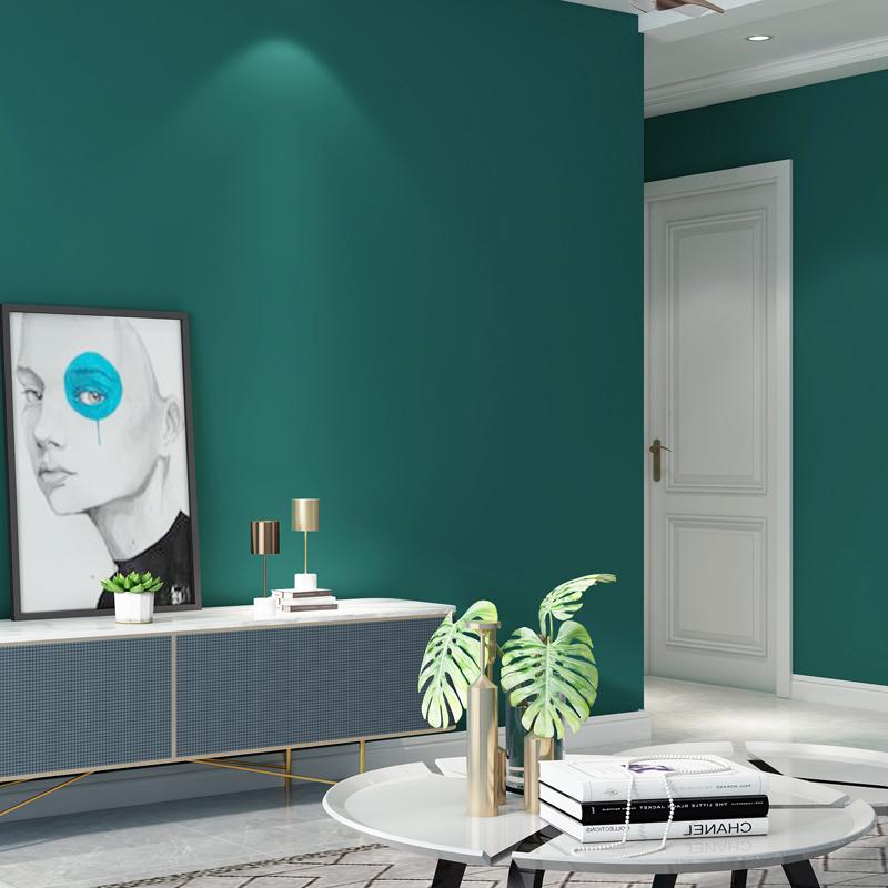 孔雀蓝绿色壁纸纯色现代简约北欧公寓楼素色风格背景墙纸客厅卧室