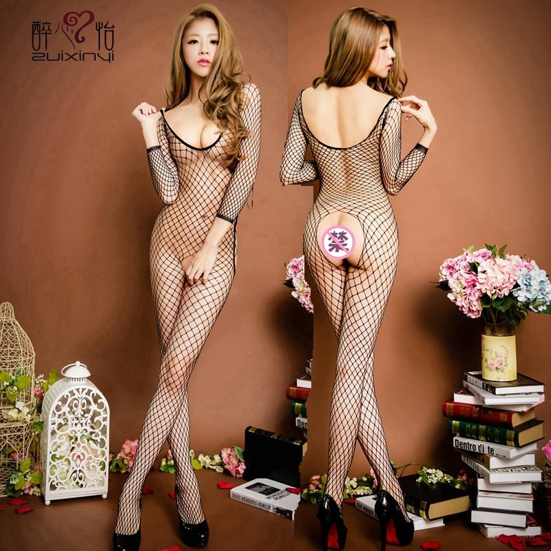性感情趣丝袜内衣女春夏火辣透明黑网袜骚薄款连体渔网袜吊带套装