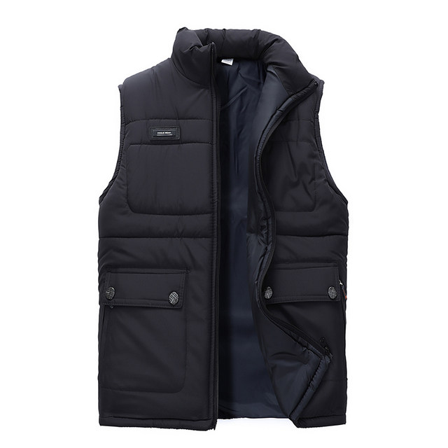 Middle aged and elderly waistcoat men's new style father's wear Plush thickened large cotton men's Vest