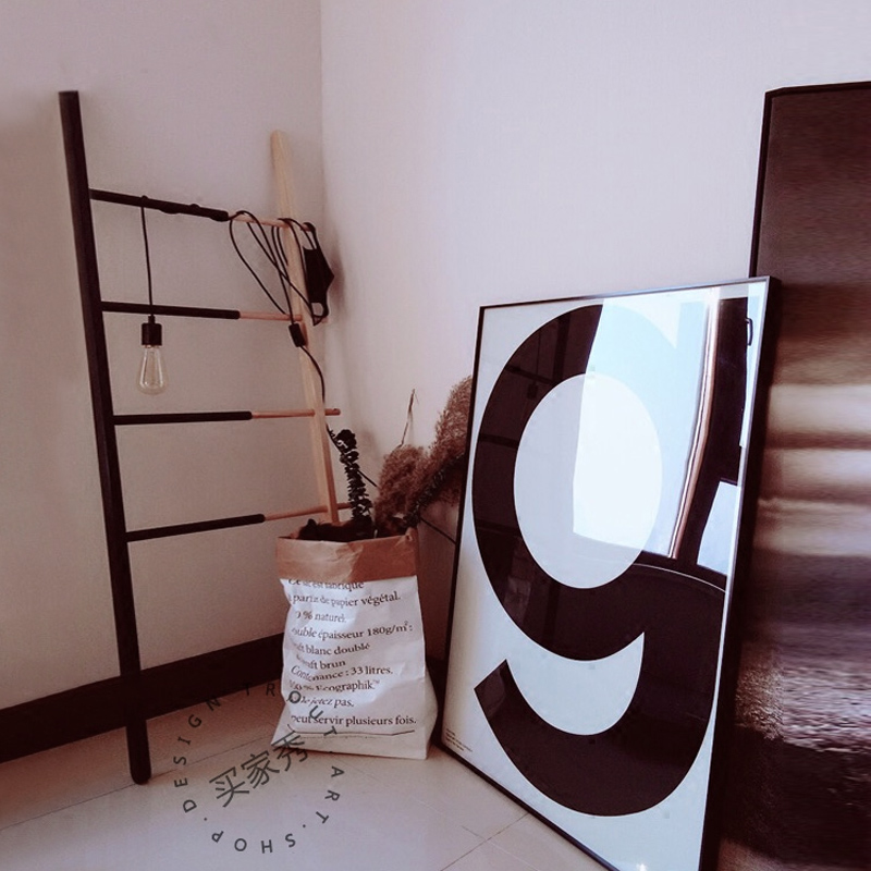 北歐裝飾畫客廳 字母g黑白壁畫現代簡約風格餐廳畫 臥室床頭掛畫
