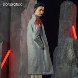 Up clothes rock wool tweed jacquard embroidery women's koi female long section of woolen coat retro coat