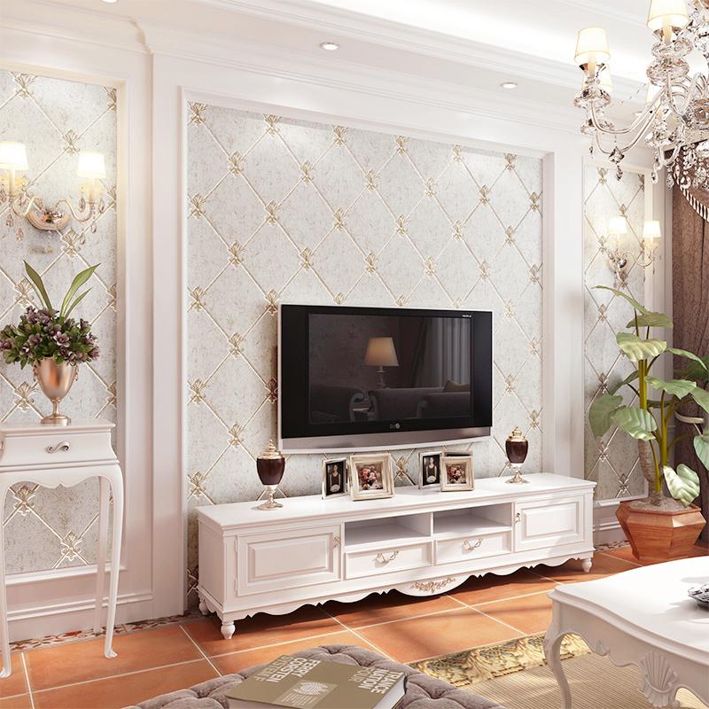 高档欧式壁纸客厅卧室现代简约3D软包电视背景墙无纺布墙纸植绒