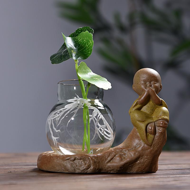 澜扬彩砂陶盆栽小和尚花器 茶宠家居装饰品陶瓷茶道摆件绿萝花插