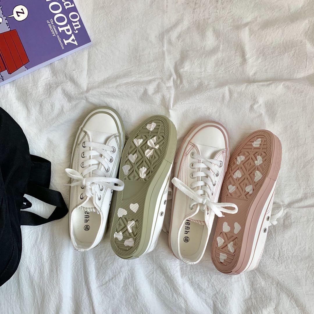 夏季新款低帮爱心帆布鞋女学生韩版百搭小白鞋板鞋潮 2019 易少年