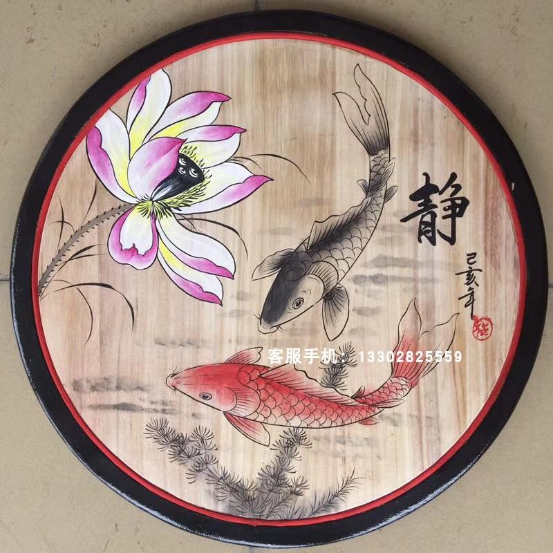 松木板手绘圆形装饰挂画酒店茶楼饭店餐厅民宿墙面复古装饰壁饰包
