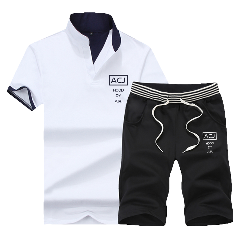 男士运动套装2019夏季V领短袖短裤运动休闲服青年韩版立领T恤夏装