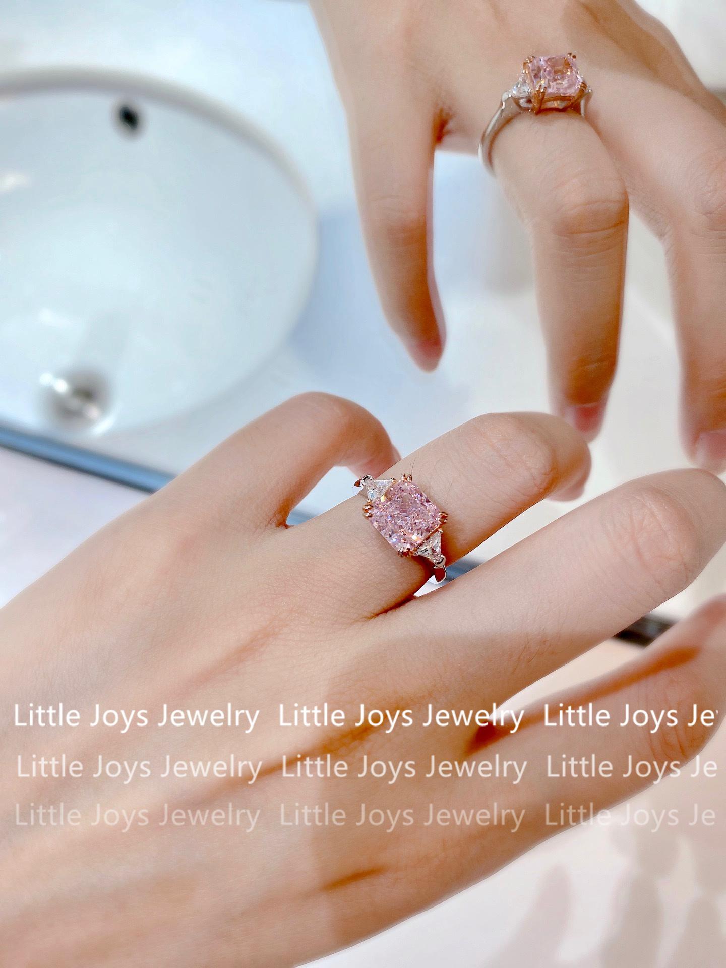 3  纯银公主轻奢女 925 HW 定制 克拉粉色水晶高碳钻方钻仿真钻石戒指