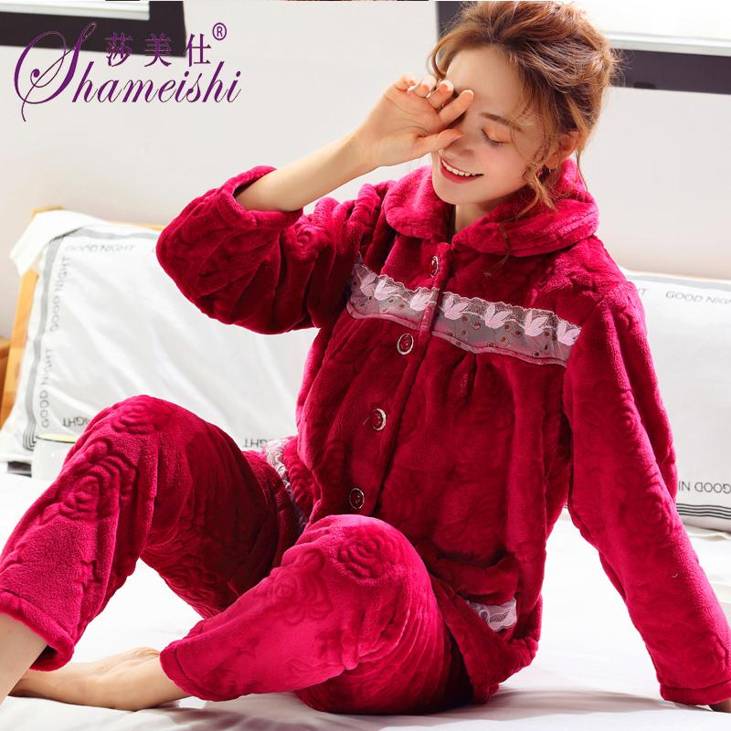 珊瑚绒睡衣女秋冬季加厚中老年法兰绒保暖宽松大码妈妈家居服套装