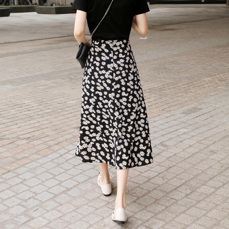 小雏菊半身裙女夏2020新款高腰遮胯显瘦雪纺碎花裙中长款a字裙子