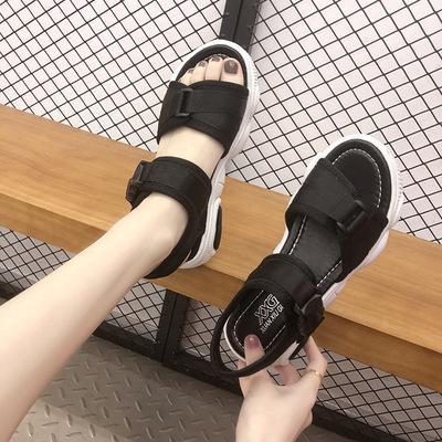 运动凉鞋女2019夏季新款韩版松糕跟厚底女鞋拼色魔术贴小熊底凉鞋