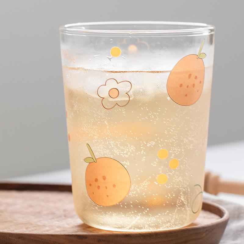 創意個性橘子玻璃水杯