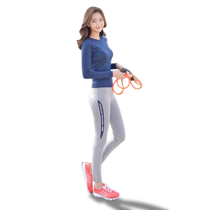 瑜伽健身服运动套装女秋冬健身房跑步上衣紧身裤短袖显瘦速干长袖