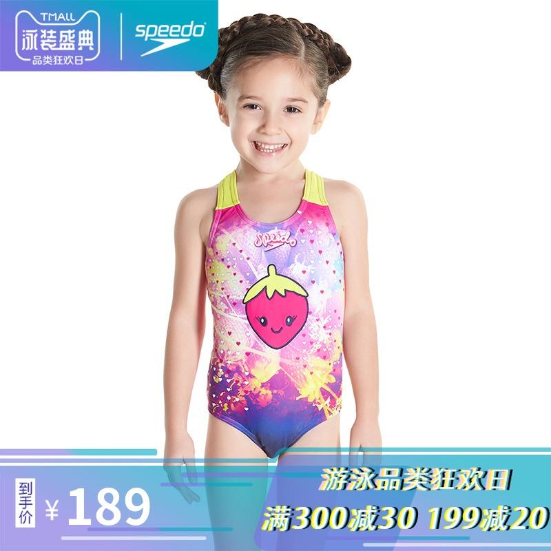 Speedo/速比濤 紫色小貓 兒童習泳舒適貼合 女童使用 連體泳衣