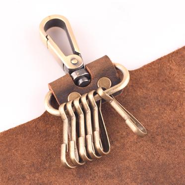 [子艺]手工皮具疯马皮原创复古真皮文艺男士头层牛皮腰挂钥匙包