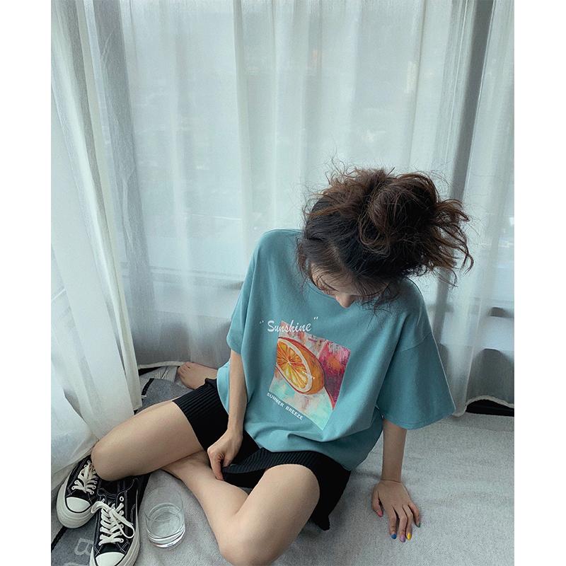张贝贝ibell2020新款夏季湖蓝色上衣洋气复古韩版印花短袖t恤女潮【图3】