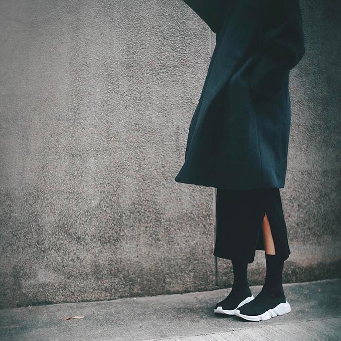巴黎17春夏 明星同款弹力套脚高帮袜子鞋厚底单鞋休闲运动鞋女