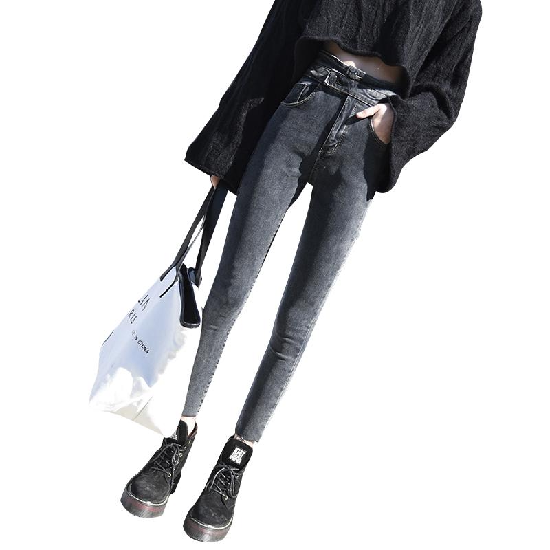 新款网红高腰牛仔裤女春秋韩版显瘦黑色紧身百搭小脚铅笔裤潮 2019