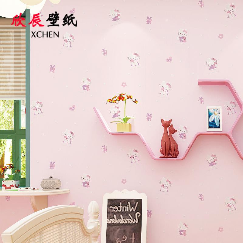 精压无纺布壁纸 3d 小猫温馨粉色女孩男孩卧室 k 可爱卡通 儿童房墙纸